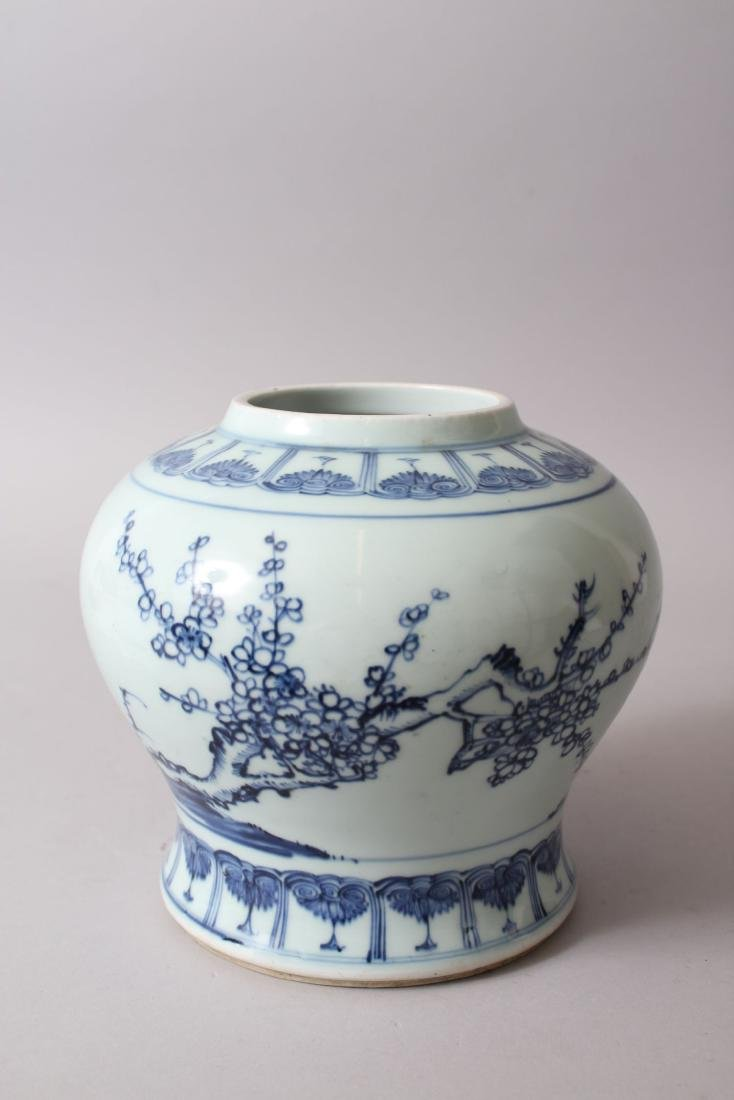 A CHINESE BLUE & WHITE PORCELAIN GINGER JAR, decorated - 3