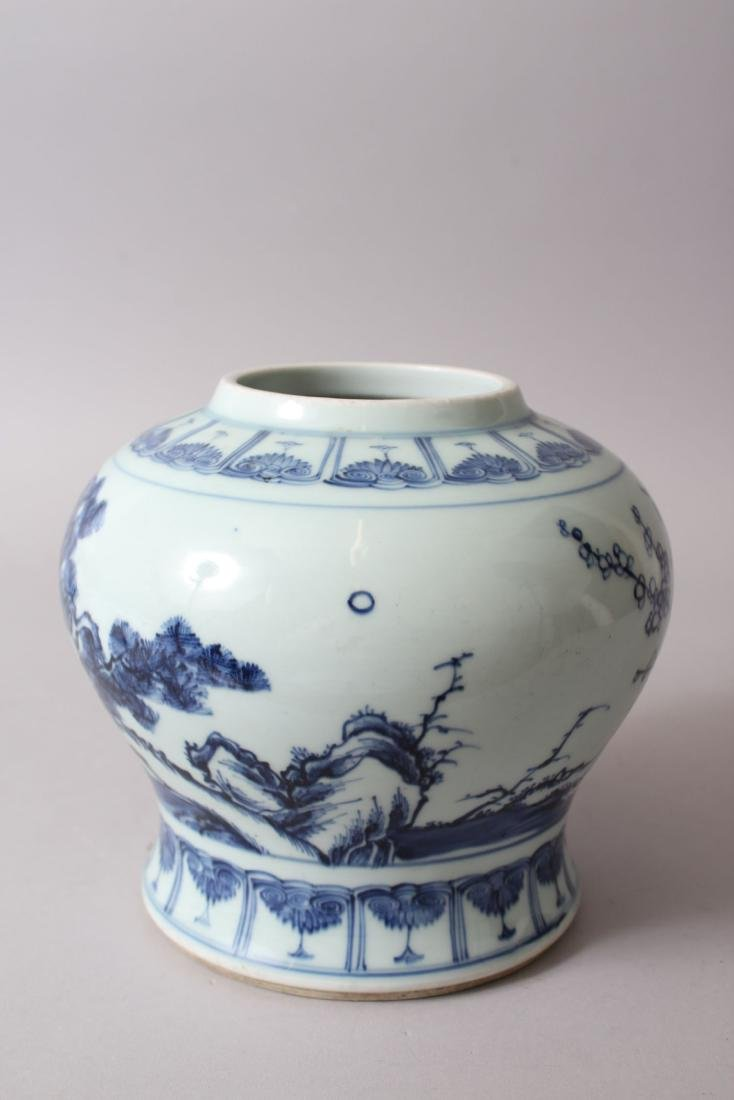 A CHINESE BLUE & WHITE PORCELAIN GINGER JAR, decorated - 4