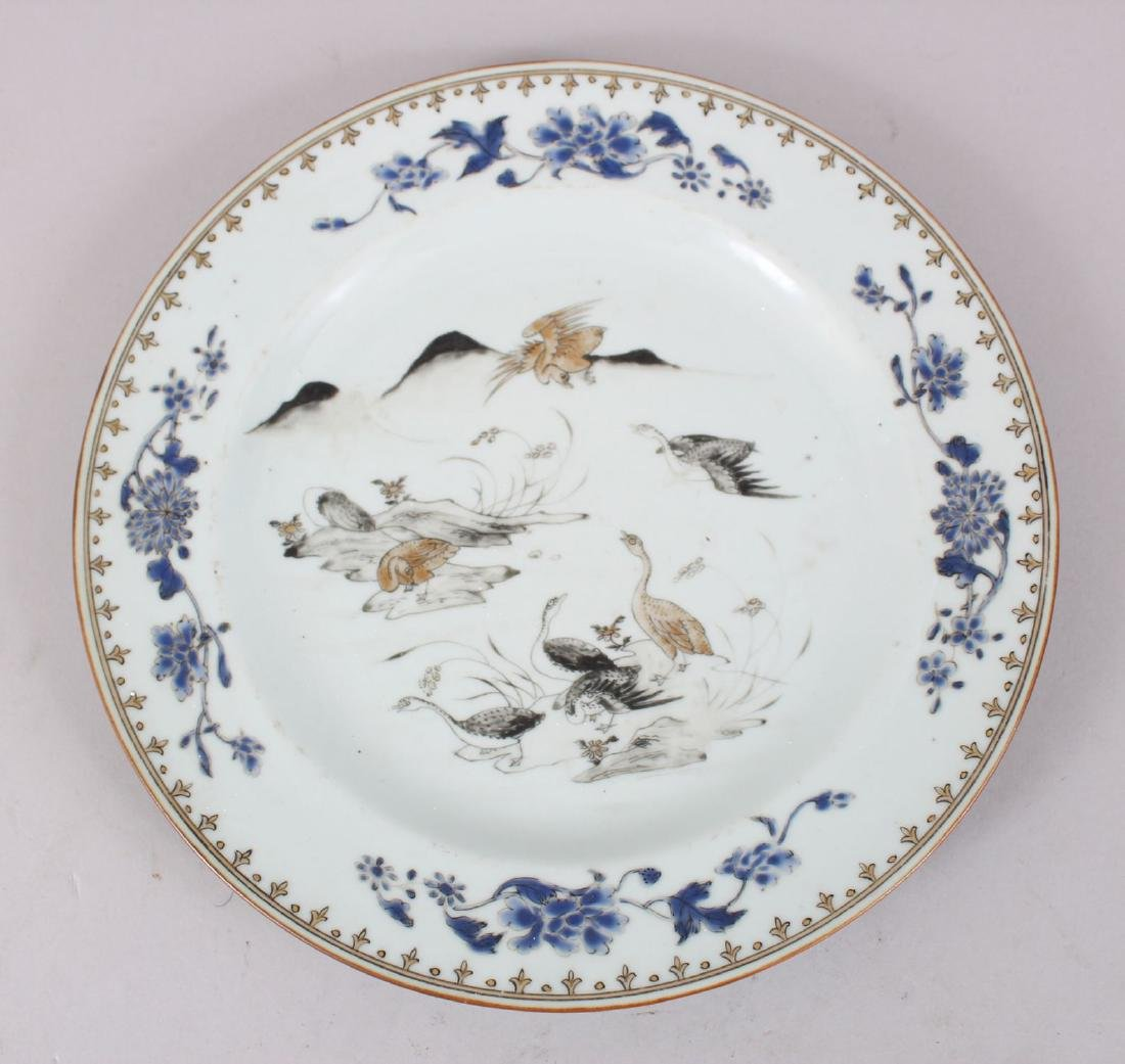 A 18TH CENTURY CHINESE PORCELAIN PLATE OF WATER FOUL,
