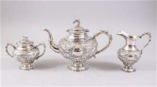 A GOOD 19TH CENTURY CHINESE EXPORT SILVER THREE PIECE