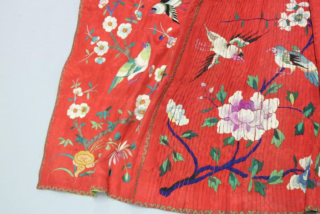 A CHINESE RED EMBROIDERED TEXTILE / SILK SKIRT, with - 2