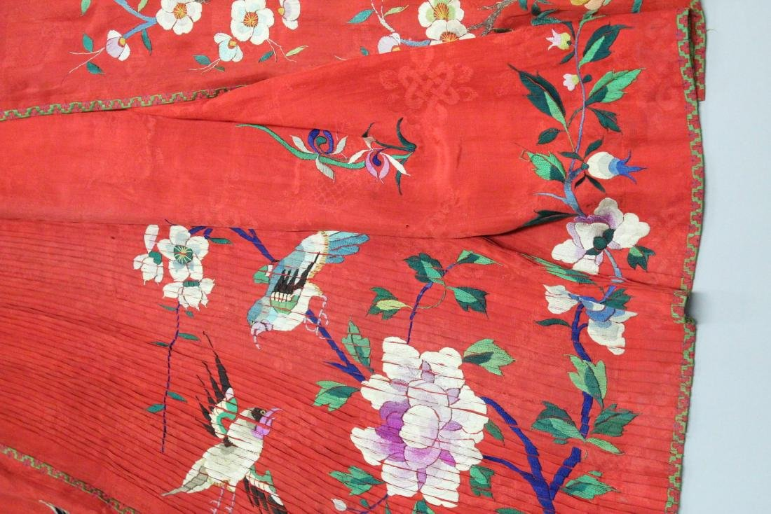 A CHINESE RED EMBROIDERED TEXTILE / SILK SKIRT, with - 3