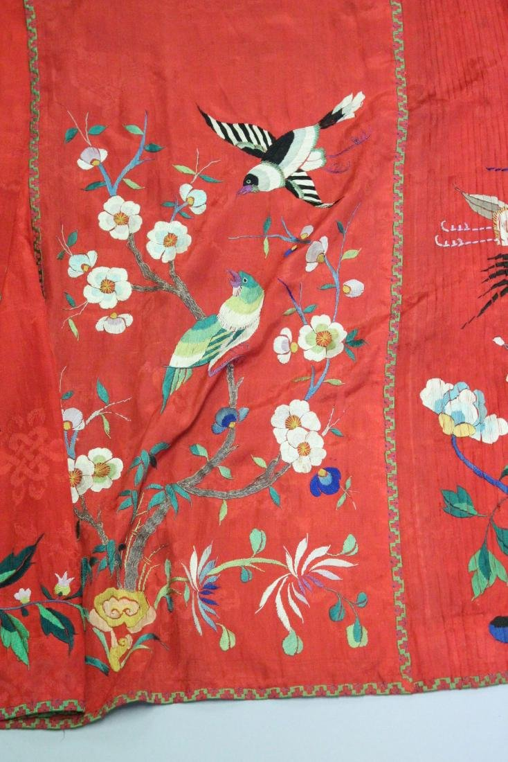 A CHINESE RED EMBROIDERED TEXTILE / SILK SKIRT, with - 4