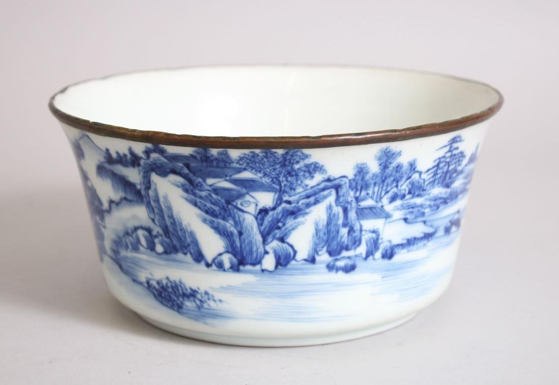 A GOOD 19TH CENTURY CHINESE BLUE & WHITE PORCELAIN BOWL