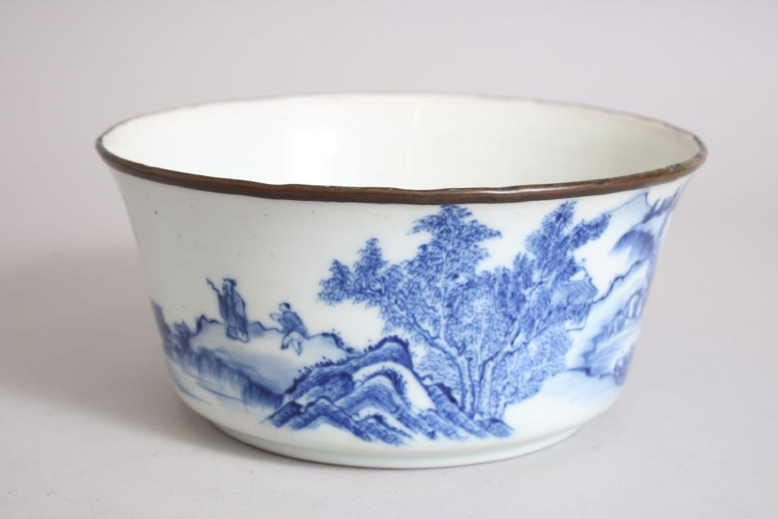 A GOOD 19TH CENTURY CHINESE BLUE & WHITE PORCELAIN BOWL - 2
