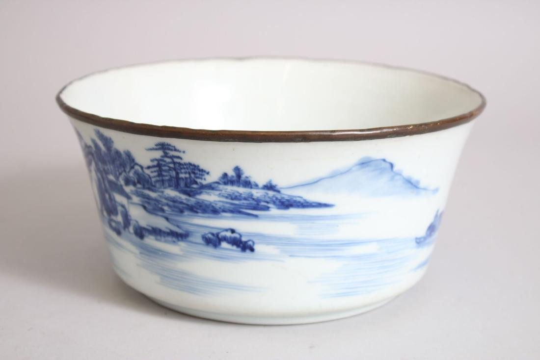 A GOOD 19TH CENTURY CHINESE BLUE & WHITE PORCELAIN BOWL - 4