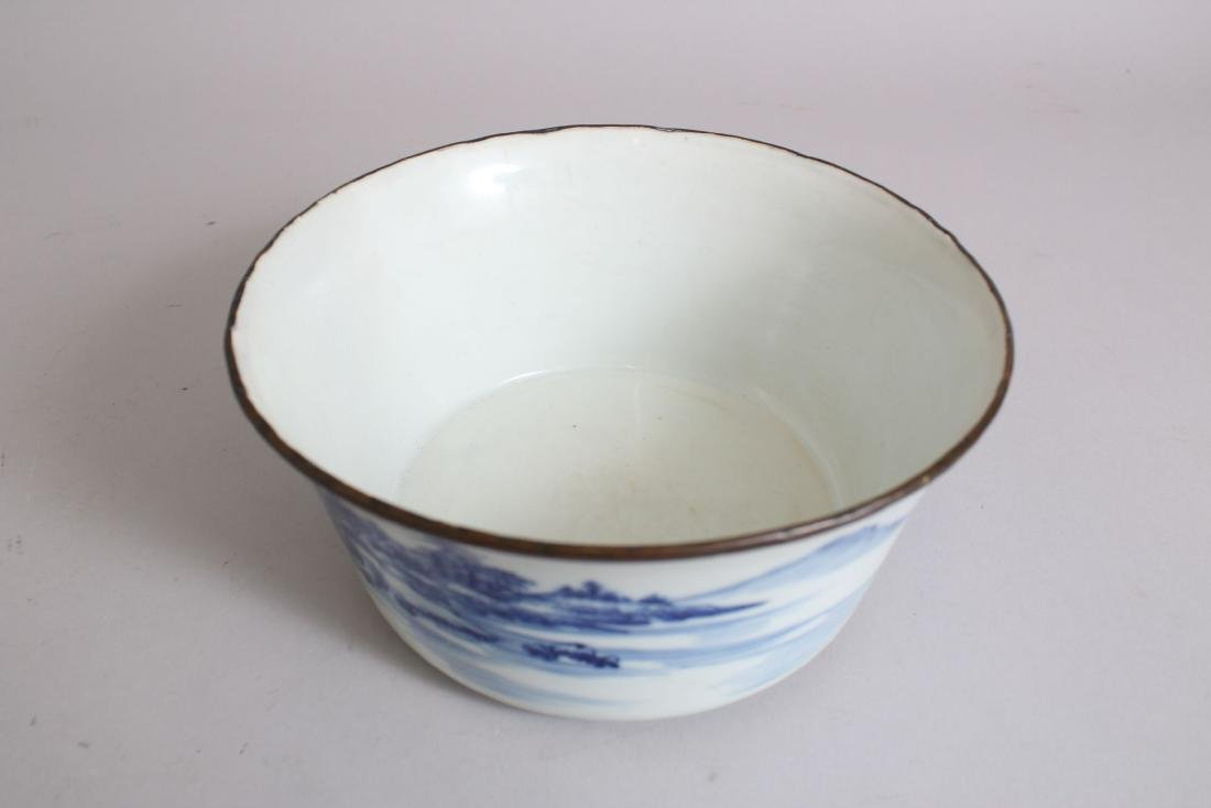A GOOD 19TH CENTURY CHINESE BLUE & WHITE PORCELAIN BOWL - 5