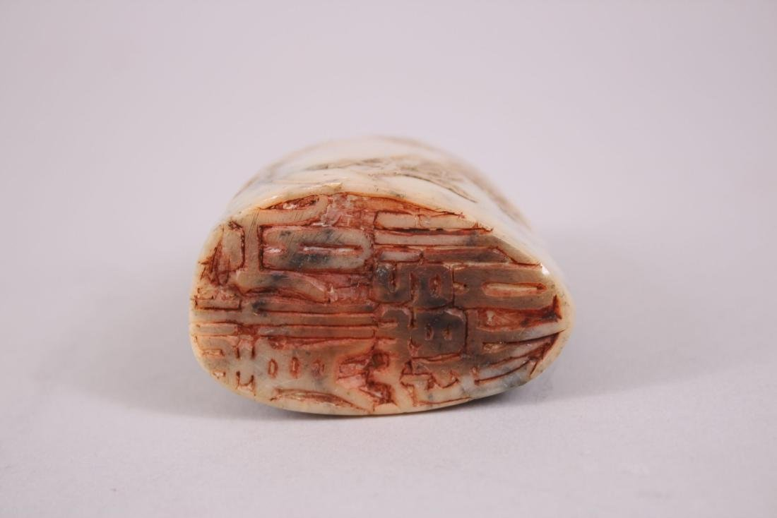 A GOOD 19TH CENTURY CHINESE SOAPSTONE SEAL, with - 3
