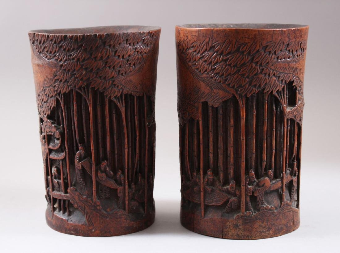 A PAIR OF CHINESE 19TH CENTURY BAMBOO CARVED BRUSH