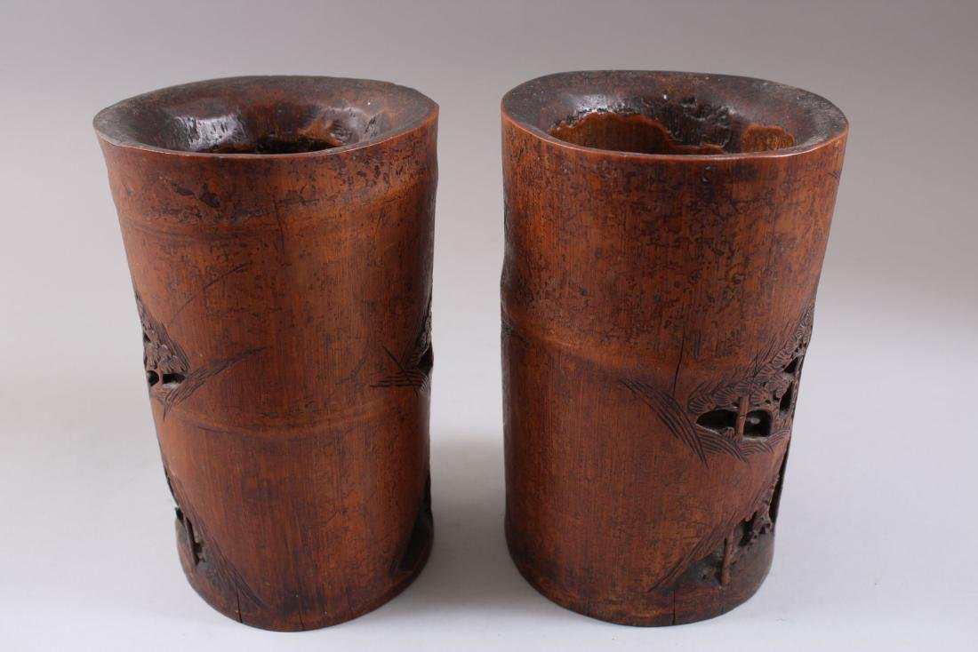 A PAIR OF CHINESE 19TH CENTURY BAMBOO CARVED BRUSH - 2