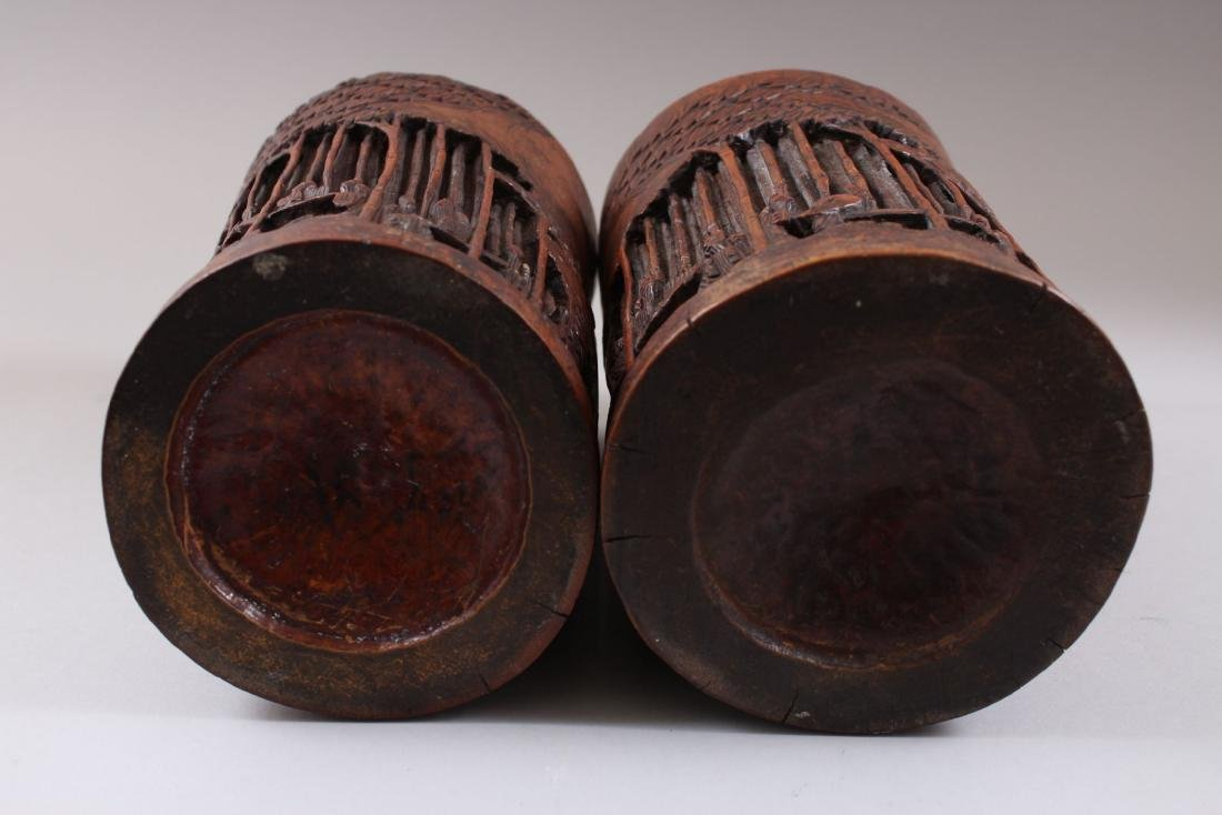 A PAIR OF CHINESE 19TH CENTURY BAMBOO CARVED BRUSH - 3