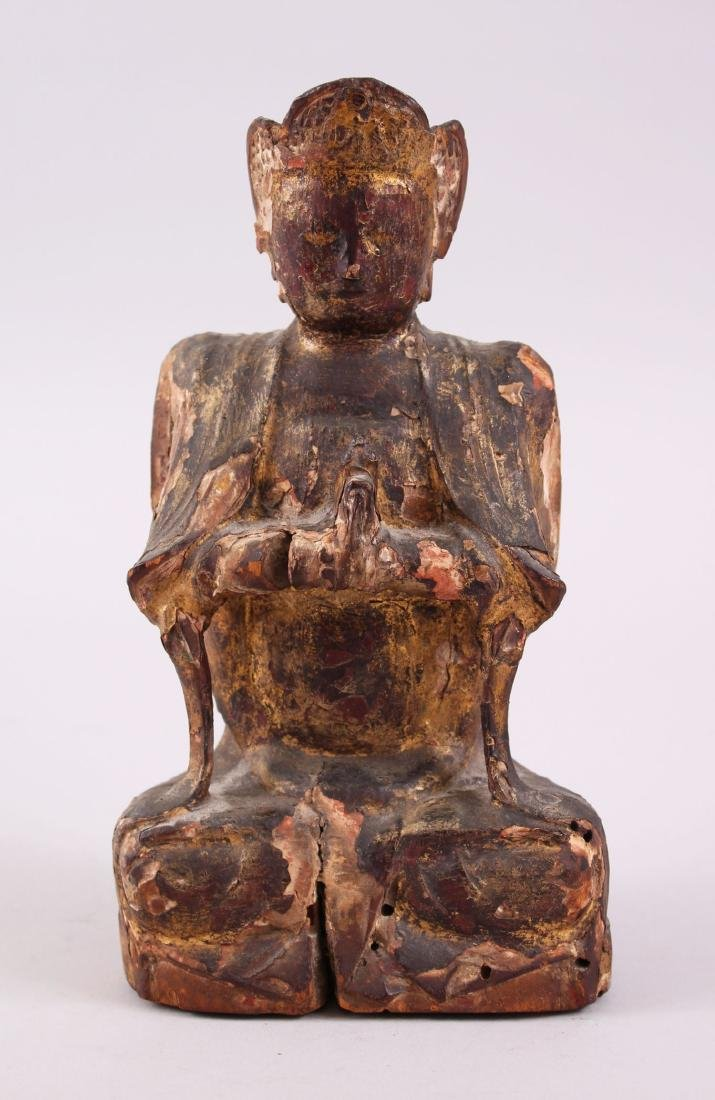 A GOOD 16TH /17TH CENTURY CHINESE / TIBETAN CARVED WOOD