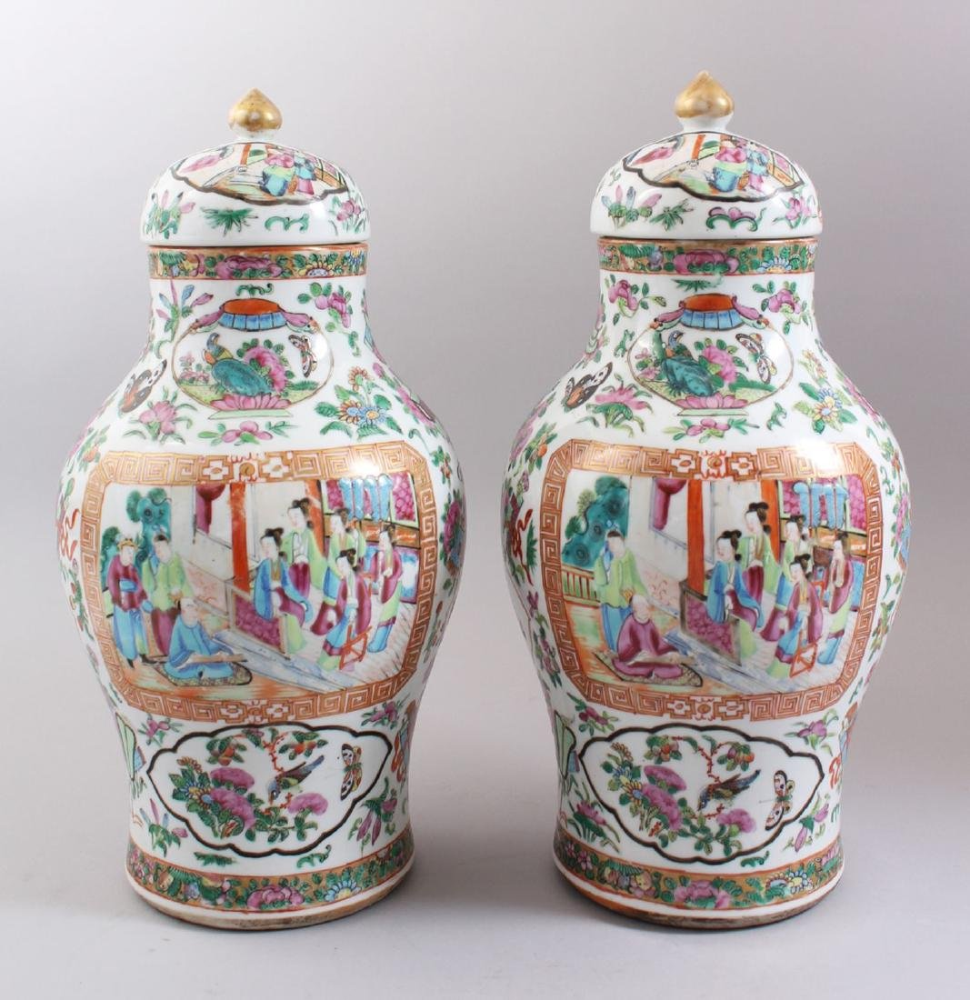 A GOOD PAIR OF 19TH CENTURY CHINESE CANTONESE VASES &