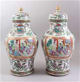 A GOOD PAIR OF 19TH CENTURY CHINESE CANTONESE VASES