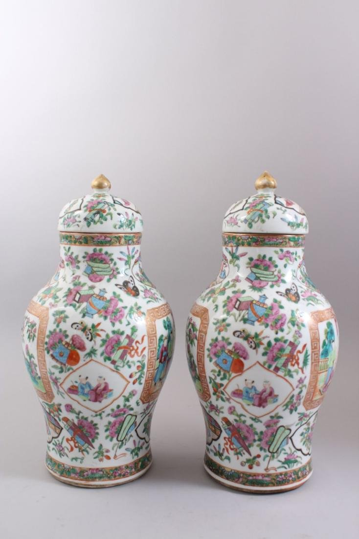 A GOOD PAIR OF 19TH CENTURY CHINESE CANTONESE VASES & - 2