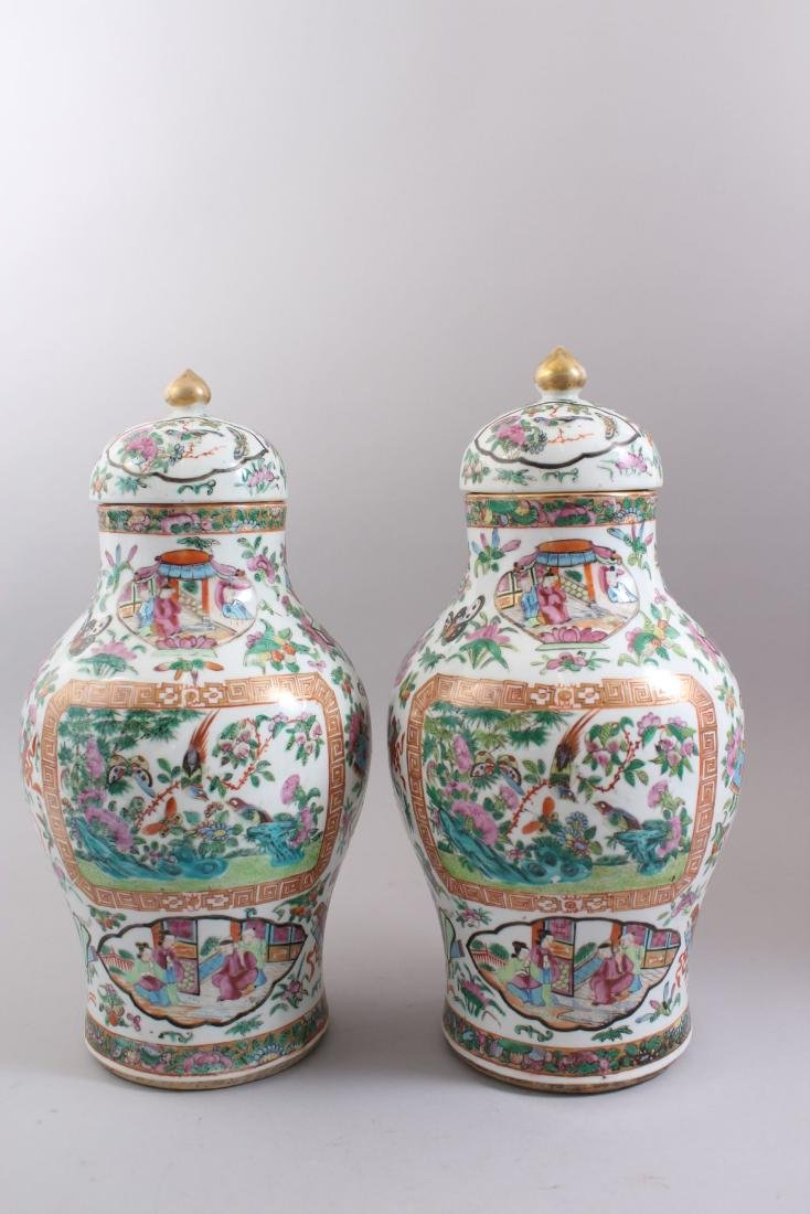 A GOOD PAIR OF 19TH CENTURY CHINESE CANTONESE VASES & - 3