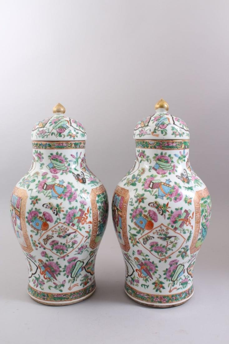 A GOOD PAIR OF 19TH CENTURY CHINESE CANTONESE VASES & - 4