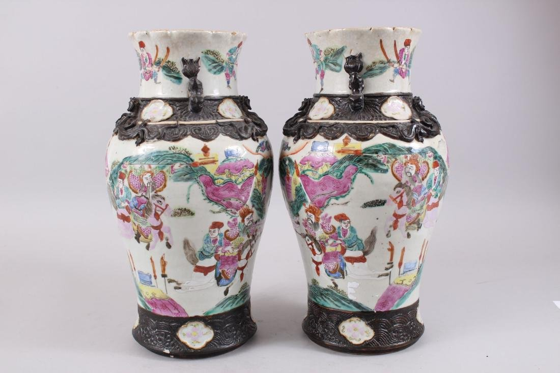 A PAIR OF LATE 19TH CENTURY CHINESE CANTON FAMILLE ROSE - 2