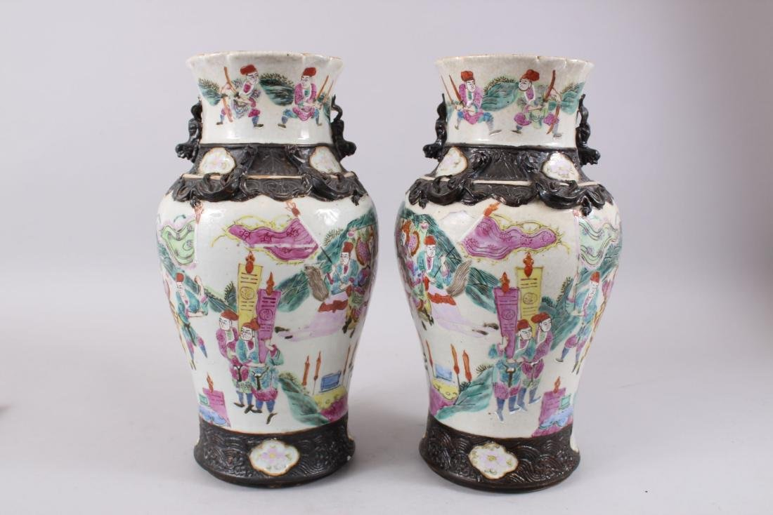 A PAIR OF LATE 19TH CENTURY CHINESE CANTON FAMILLE ROSE - 3