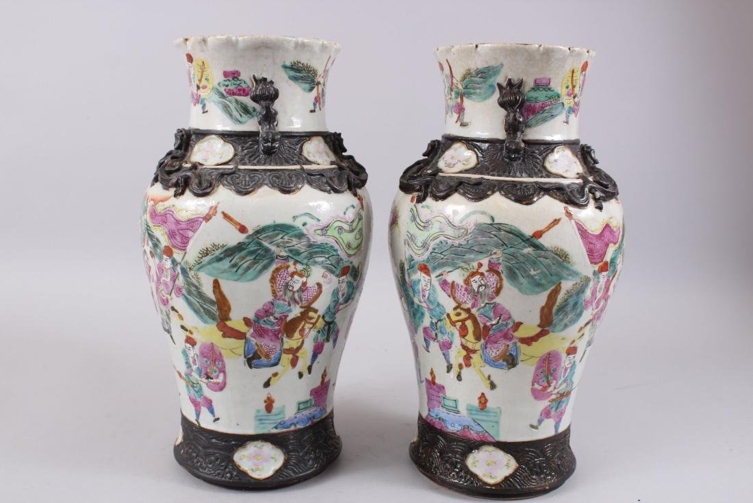 A PAIR OF LATE 19TH CENTURY CHINESE CANTON FAMILLE ROSE - 4