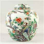 A GOOD 19TH CENTURY CHINESE FAMILLE VERTE PORCELAIN JAR