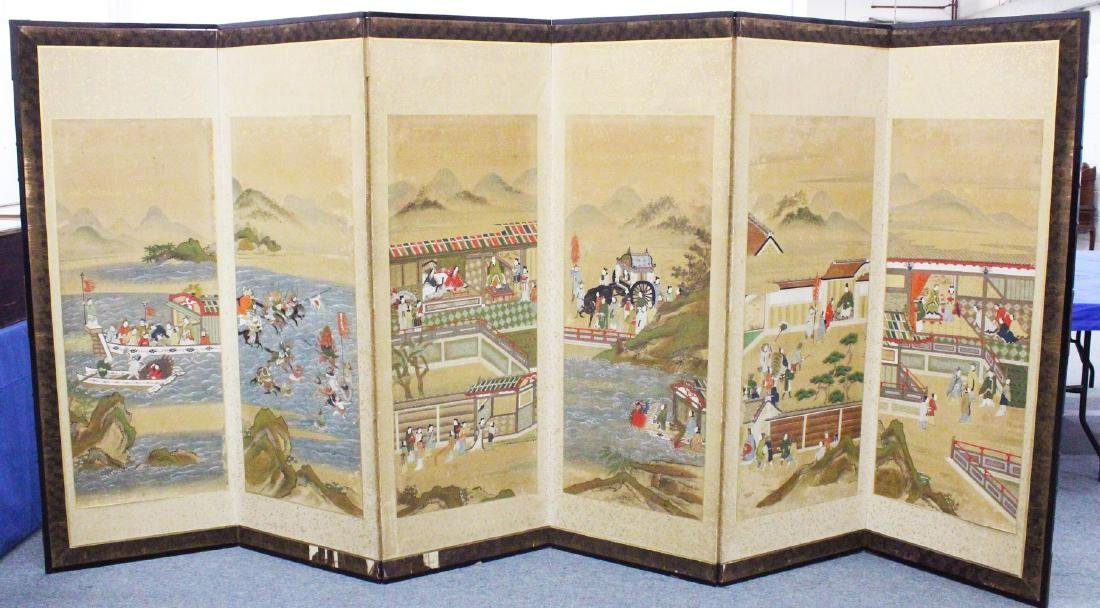 A GOOD JAPANESE MEIJI PERIOD SIX FOLD PAINTED SCREEN,
