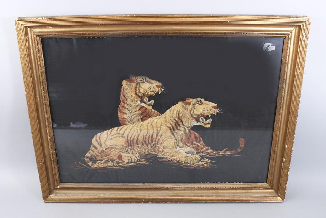 A JAPANESE MEIJI PERIOD EMBROIDERED SILK PICTURE OF