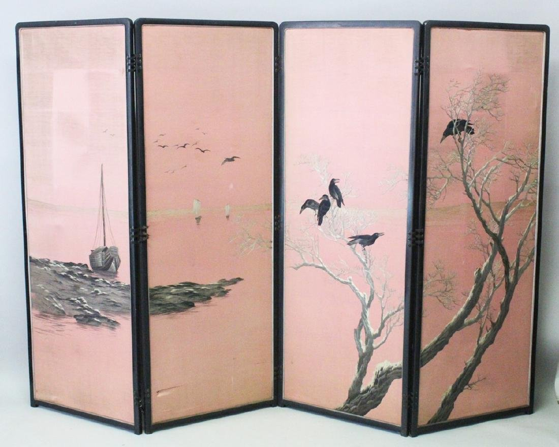 A GOOD JAPANESE MEIJI PERIOD FOUR FOLD EMBROIDERED SILK