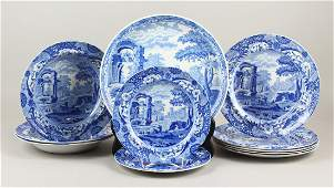 A SPODE ITALIAN LANDSCAPE PATTERN BLUE AND WHITE