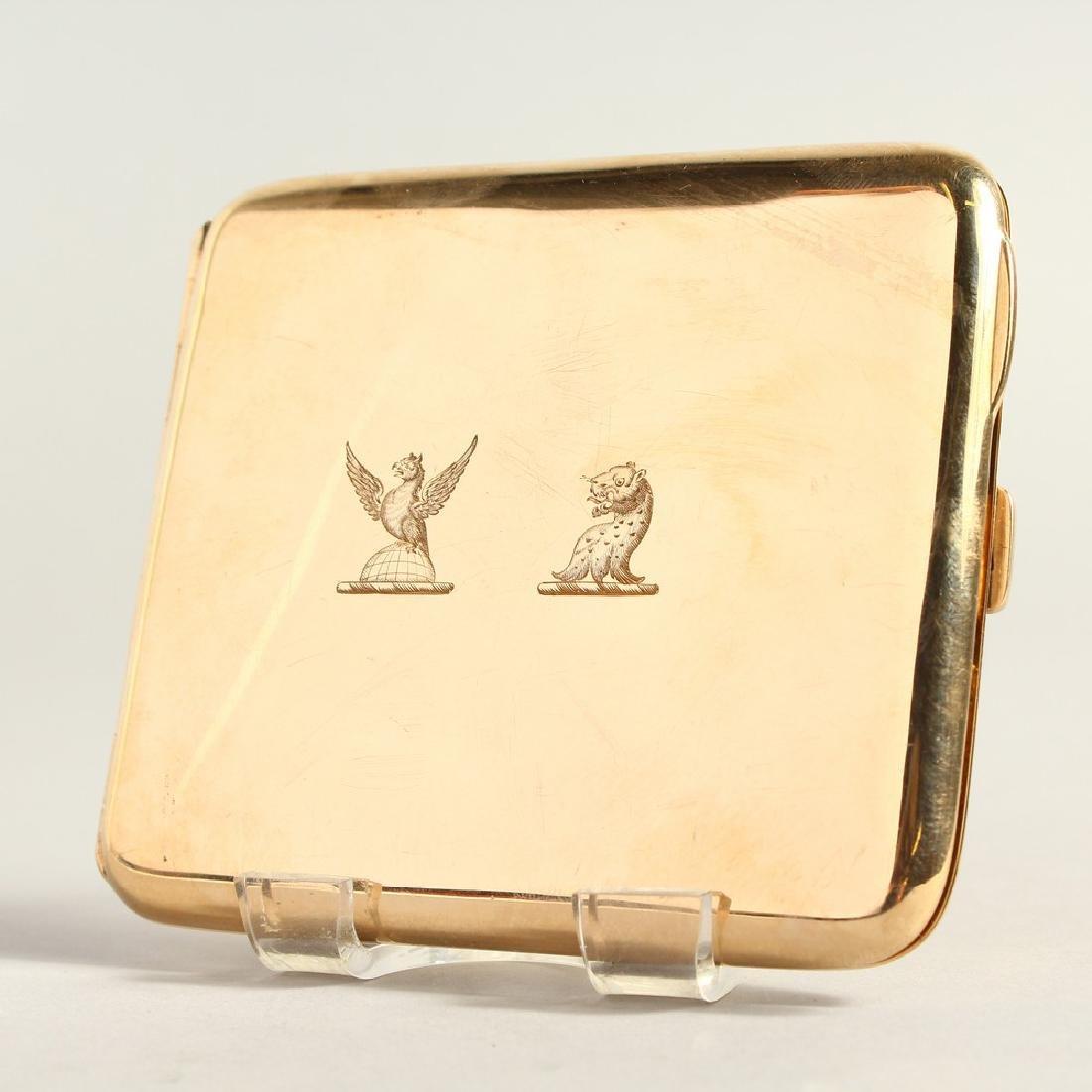 A 9CT GOLD CIGARETTE CASE.  107gms.