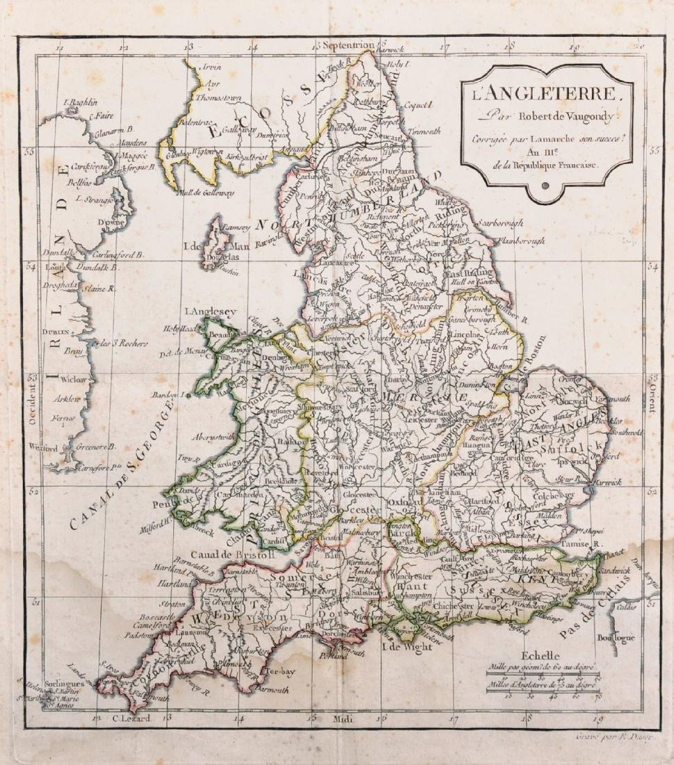 "Robert de Vaugondy (1688-1766) French. ""L'Angleterre"","