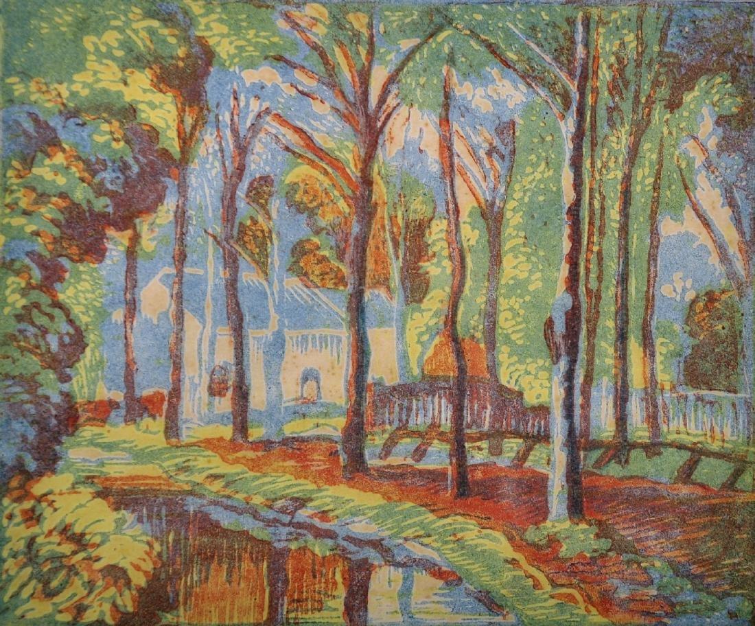 "Ethelbert White (1891-1972) British. ""The Farm Pond"","