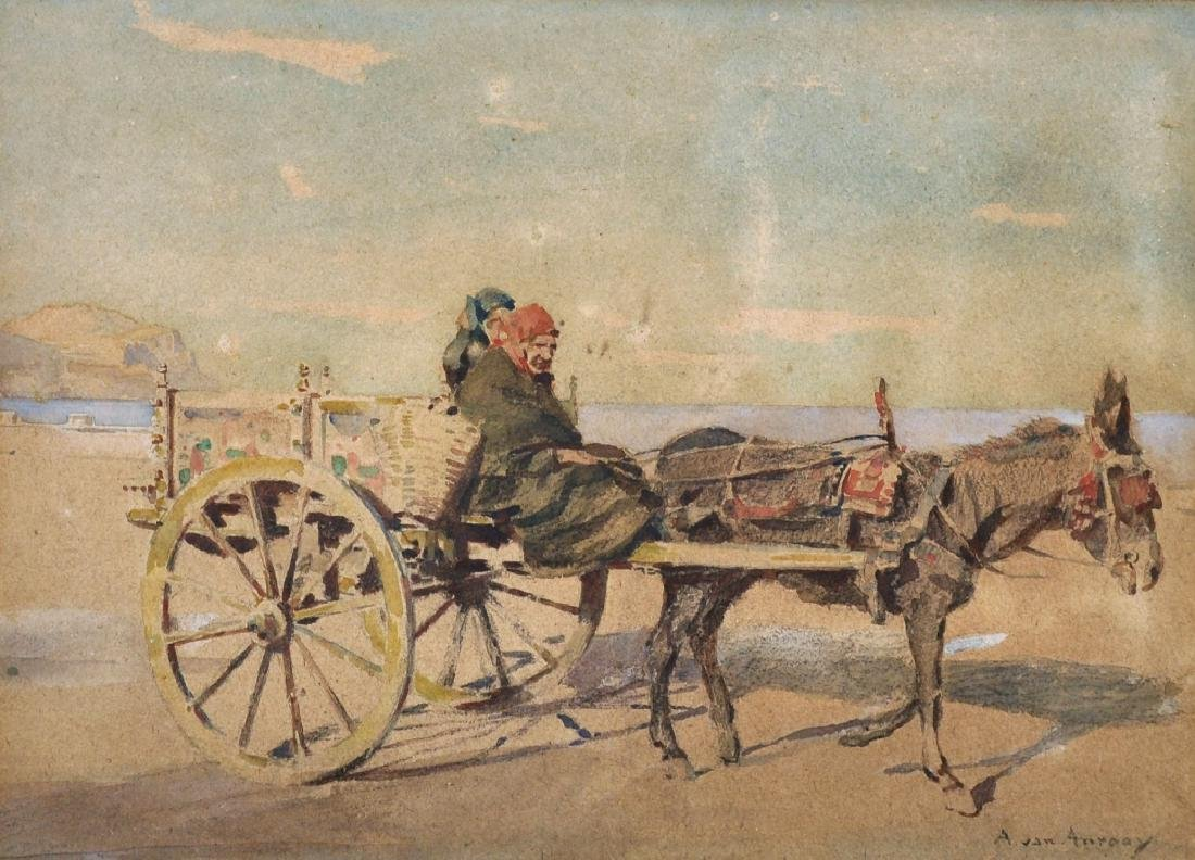 Anton Van Anrooy (1870-1949) Dutch. Figures in a Cart,