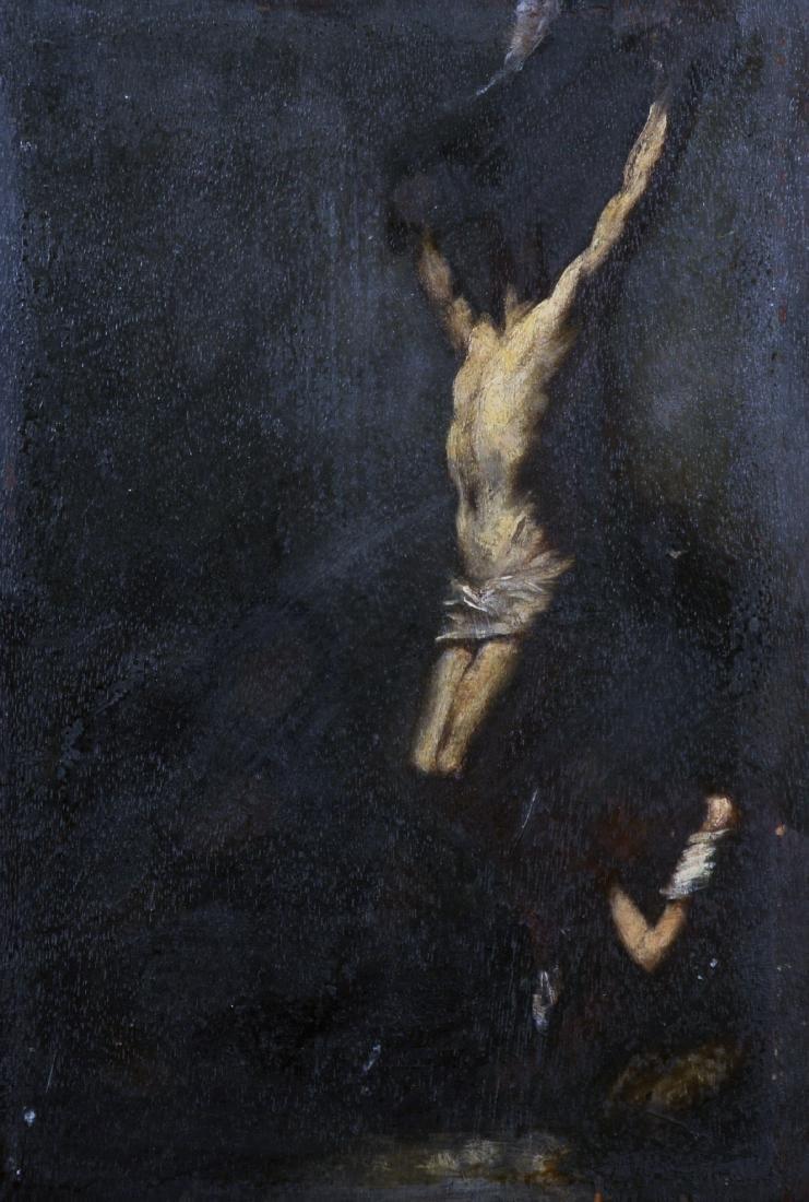 18th Century Dutch School. The Crucifixion, Oil on