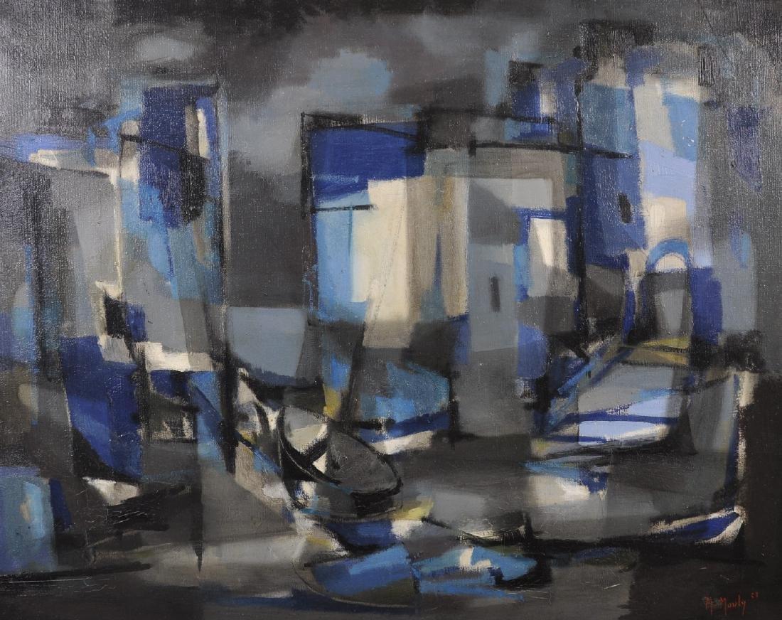 "Marcel Mouly (1918-2008) French. ""Nuit dans le Port"