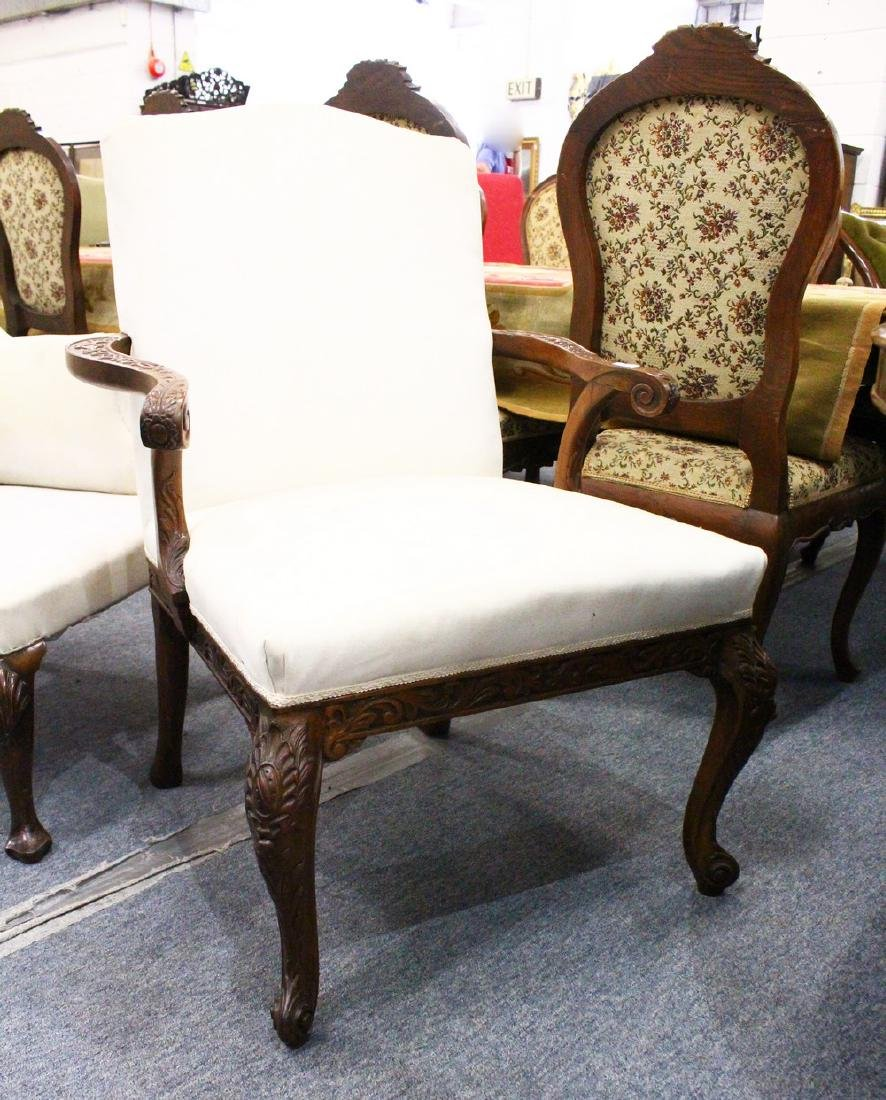 A GOOD GEORGIAN MAHOGANY ARMCHAIR, with padded back and
