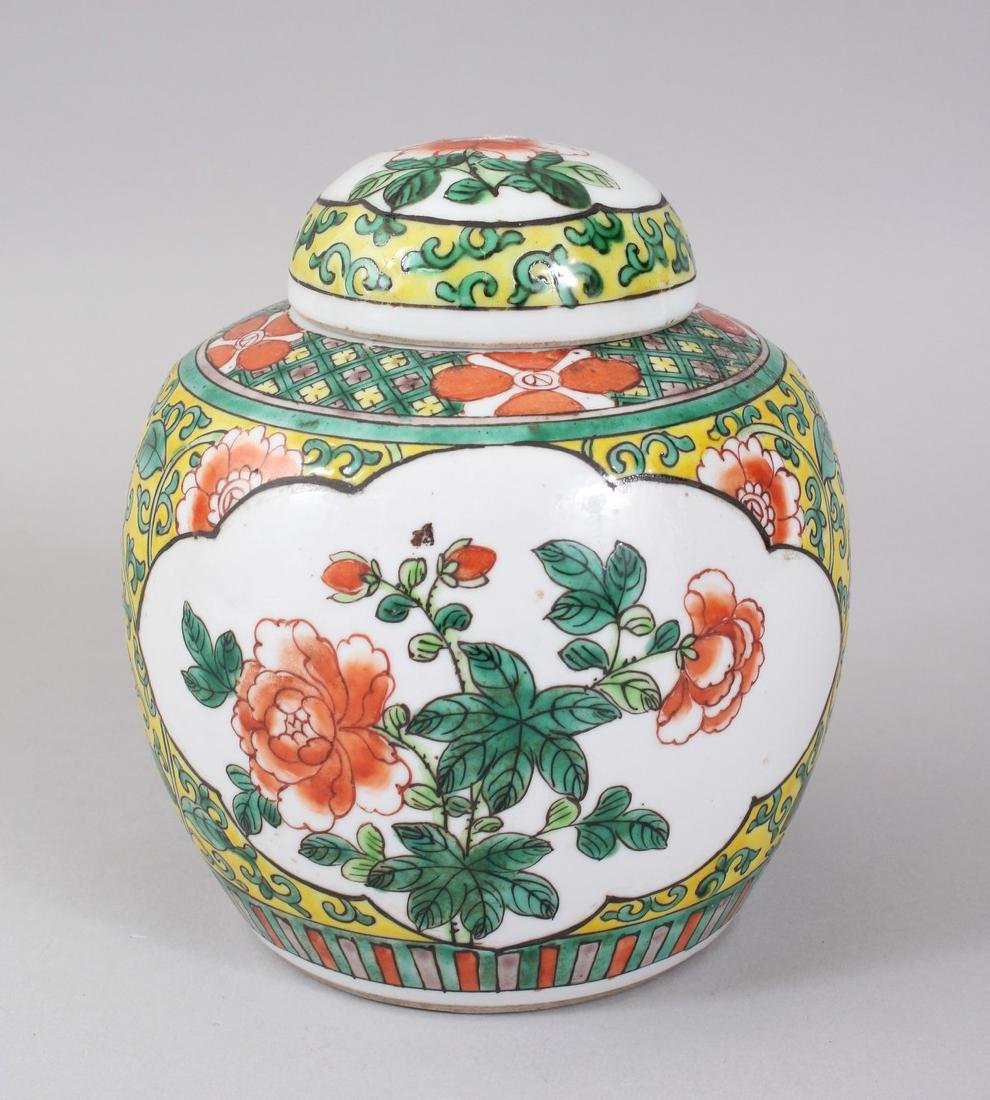 AN EARLY 20TH CENTURY CHINESE FAMILLE VERTE GINGER JAR
