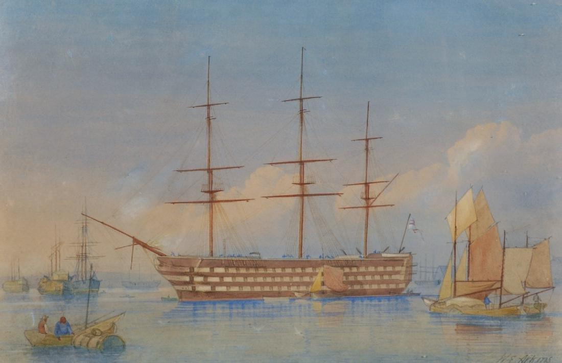 """William Edward Atkins (1842-1910) British. """"HMS Duke of"""