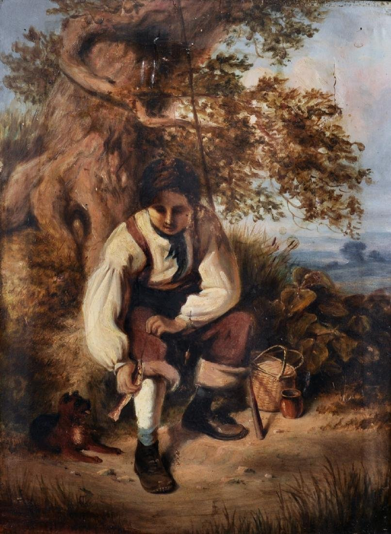 19th Century English School. A Young Boy Fishing, with