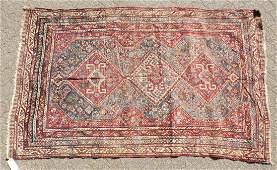 A LARGE OLD PERSIAN SHIRAZ RUG with three main diamond