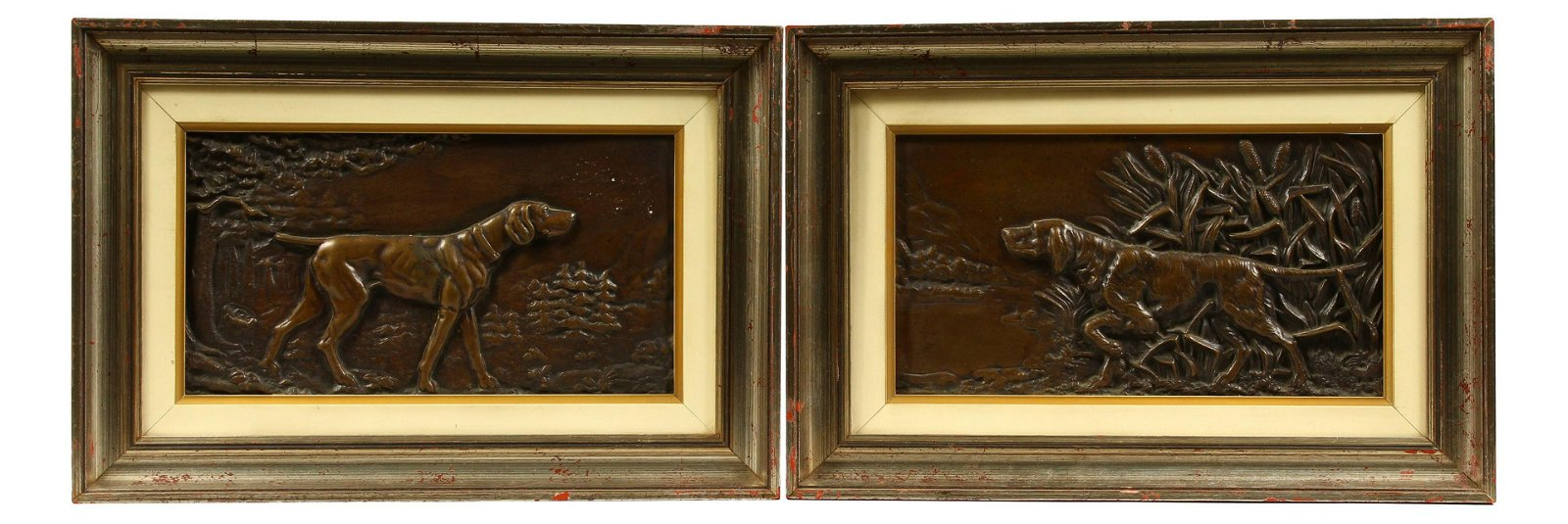 A PAIR OF 20TH CENTURY RELIEF CAST BRONZE PLAQUES,