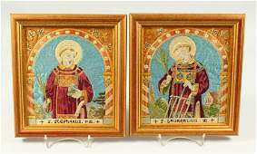 A PAIR OF FRAMED AND GLAZED RELIGIOUS PICTURES 8ins x