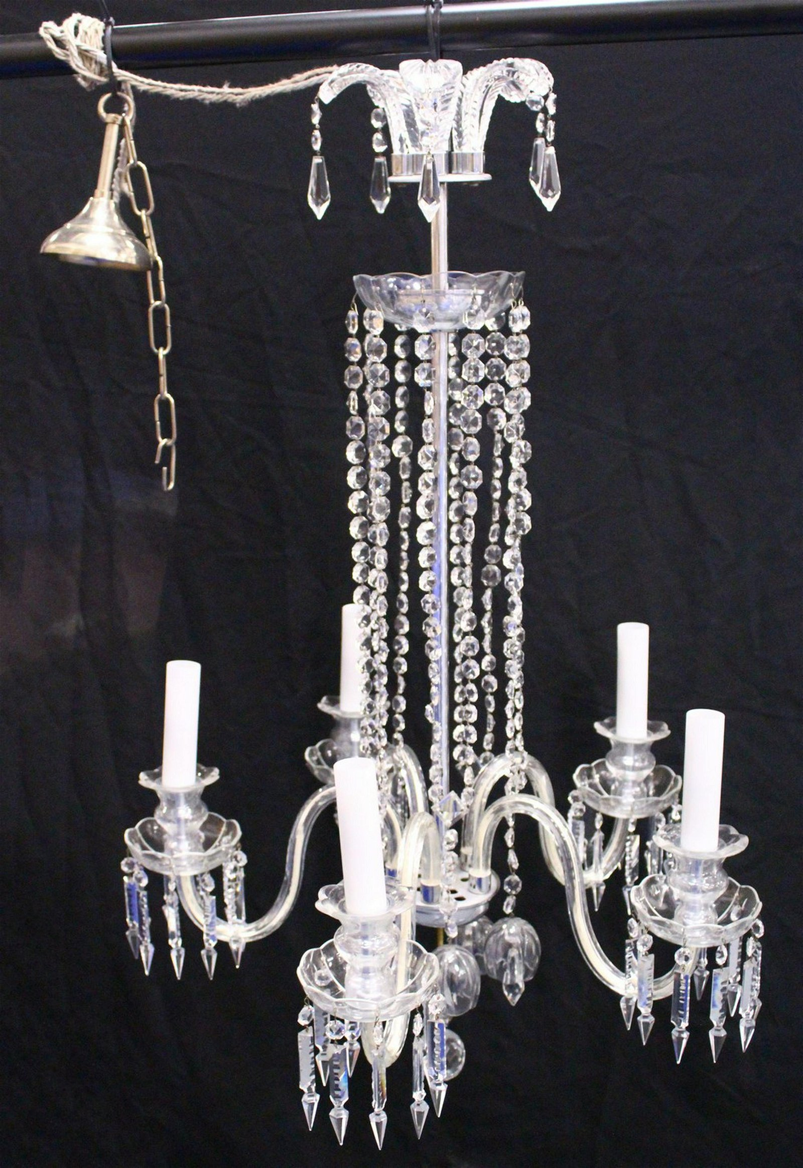 A GOOD CUT GLASS FIVE BRANCH CHANDELIER, with prism