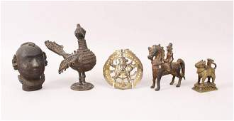 A COLLECTION OF FIVE INDIAN BRONZES.