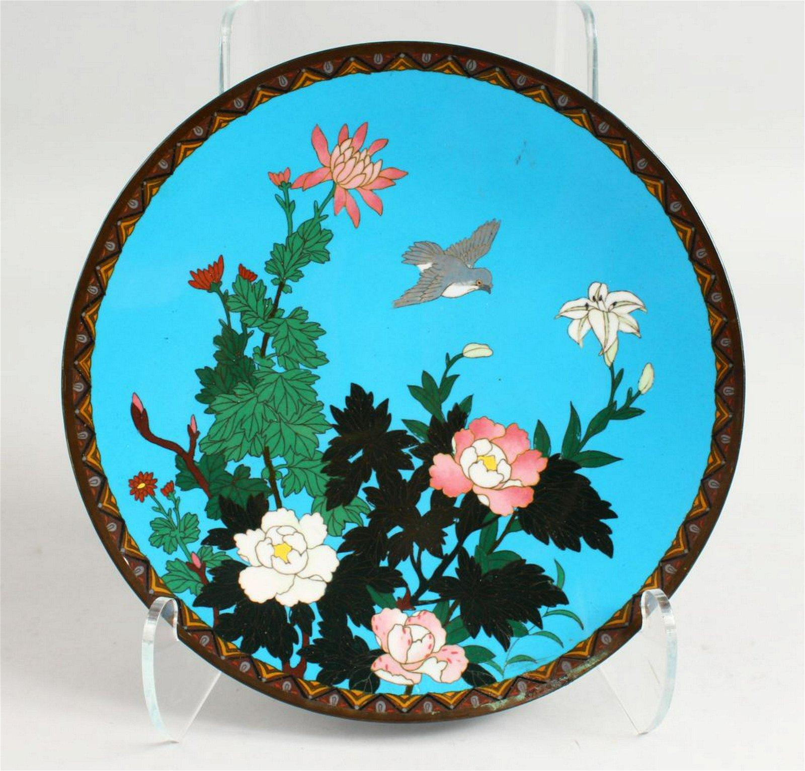 A 19TH CENTURY JAPANESE CLOISONNE ENAMEL DISH, blue