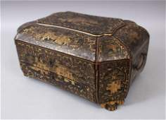 A 19TH CENTURY PAPIER MACHE LACQUER AND GILDED CHINESE