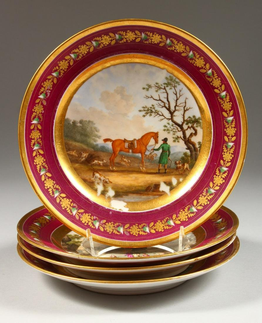 A SET OF FOUR 19TH CENTURY FRENCH PLATES, painted with