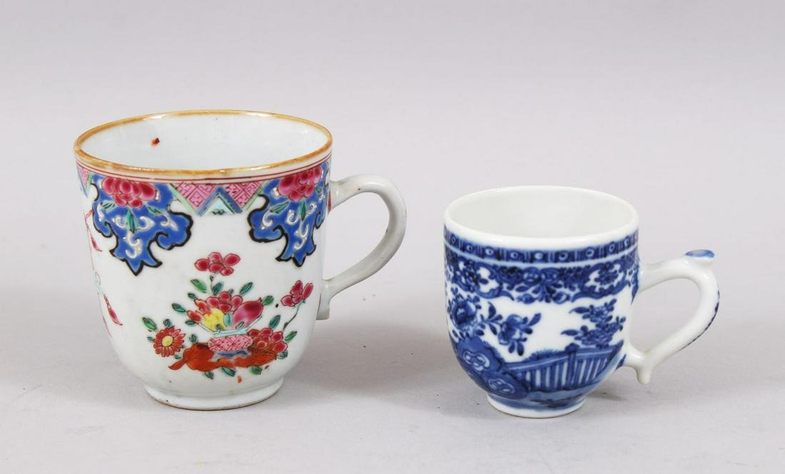 TWO 18TH CENTURY CHINESE FAMILLE ROSE / BLUE & WHITE