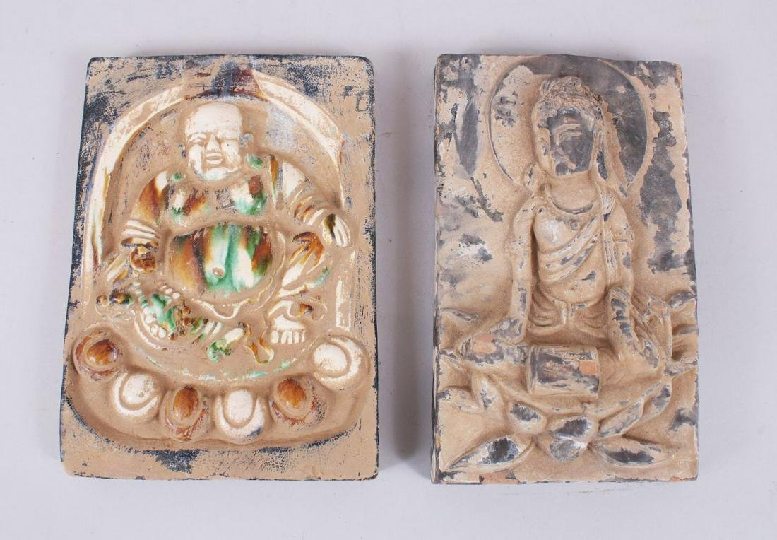 TWO GOOD CHINESE SANCAI POTTERY TILES, one tile