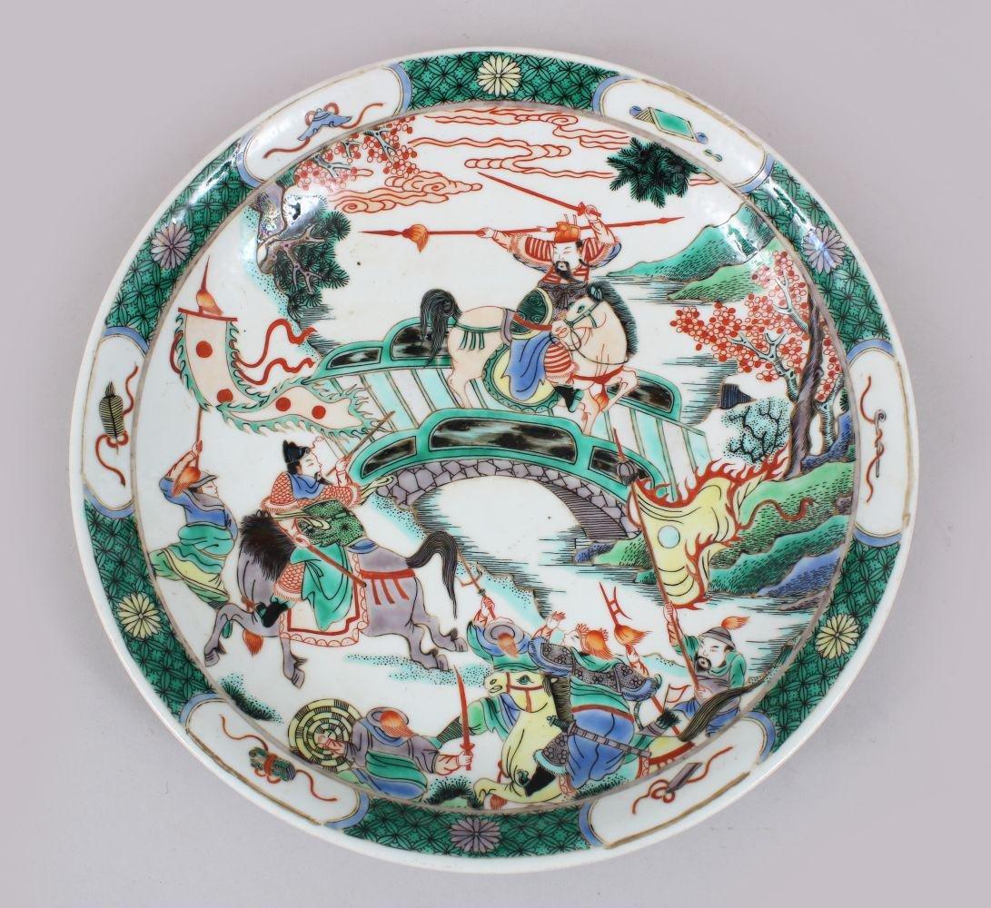 A GOOD CHINESE KANGXI STYLE FAMILLE VERTE PORCELAIN